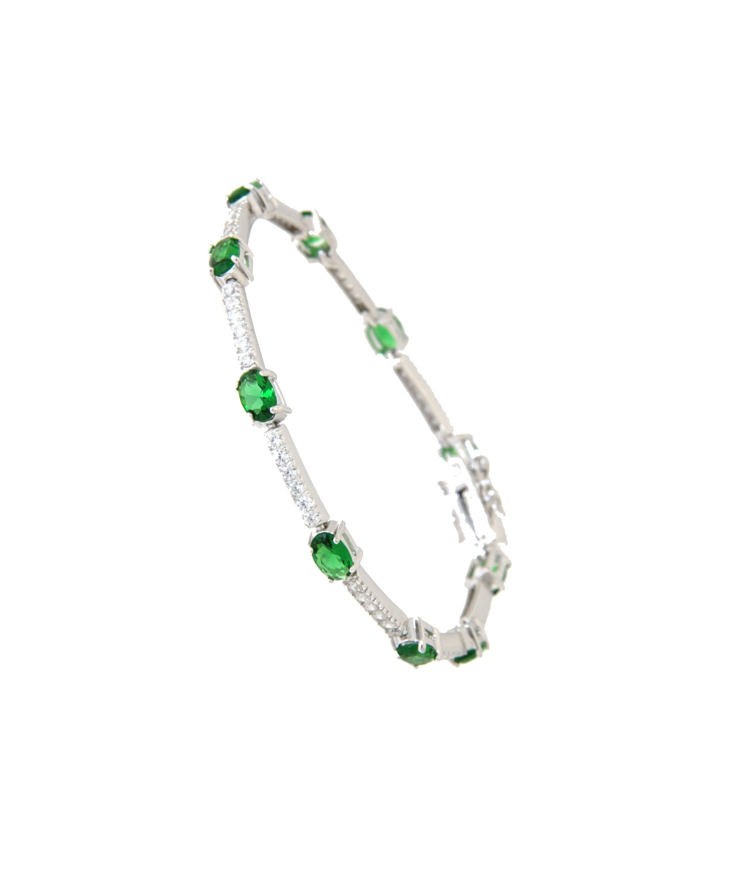 Armband Jane silber smaragd grün weiß