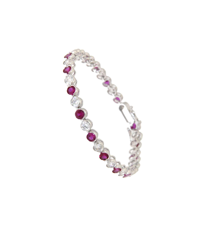 Armband Madeleine silber rubinrot weiß