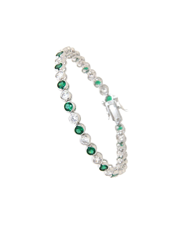 Armband Madeleine Silber Smaragd grün weiß