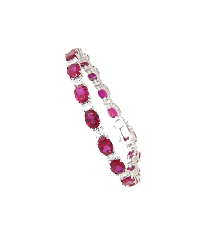 Armband Sissi silber rubin rot weiß