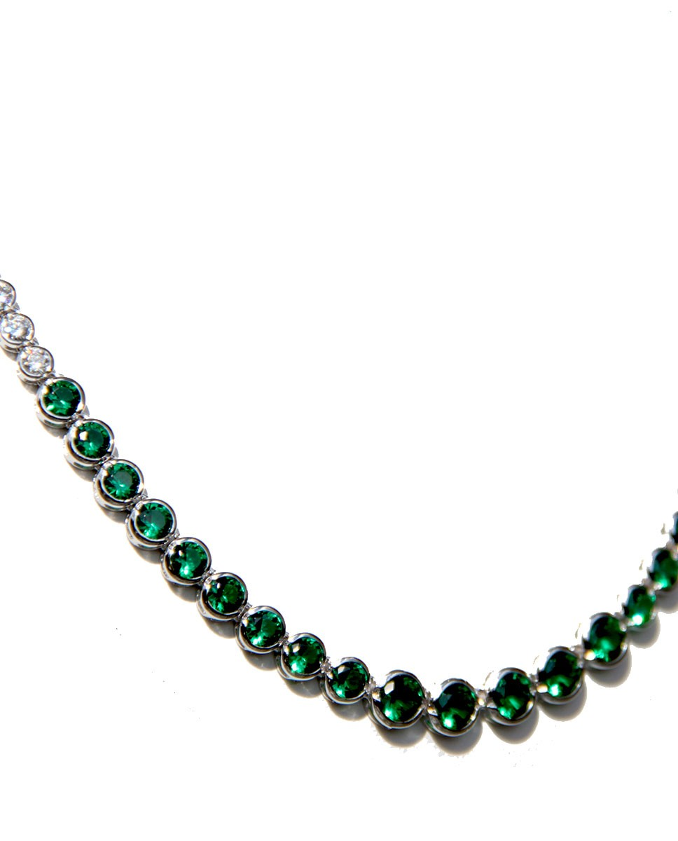Collier Charlene silber smaragd grün weiß Ausschnitt