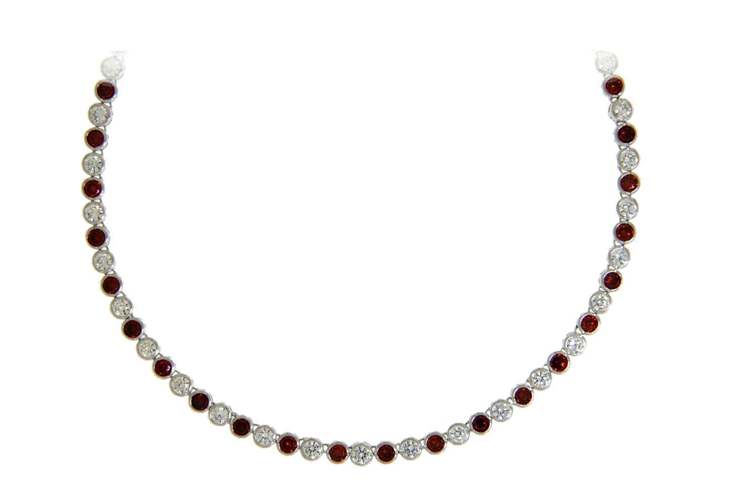 Collier Charlotte silber granat rot weiß frontal