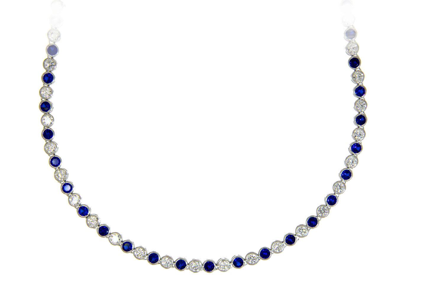 Collier Charlotte silber saphir blau weiß frontal