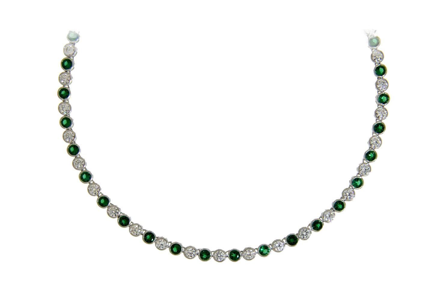 Collier Charlotte silber smaragd grün weiß frontal