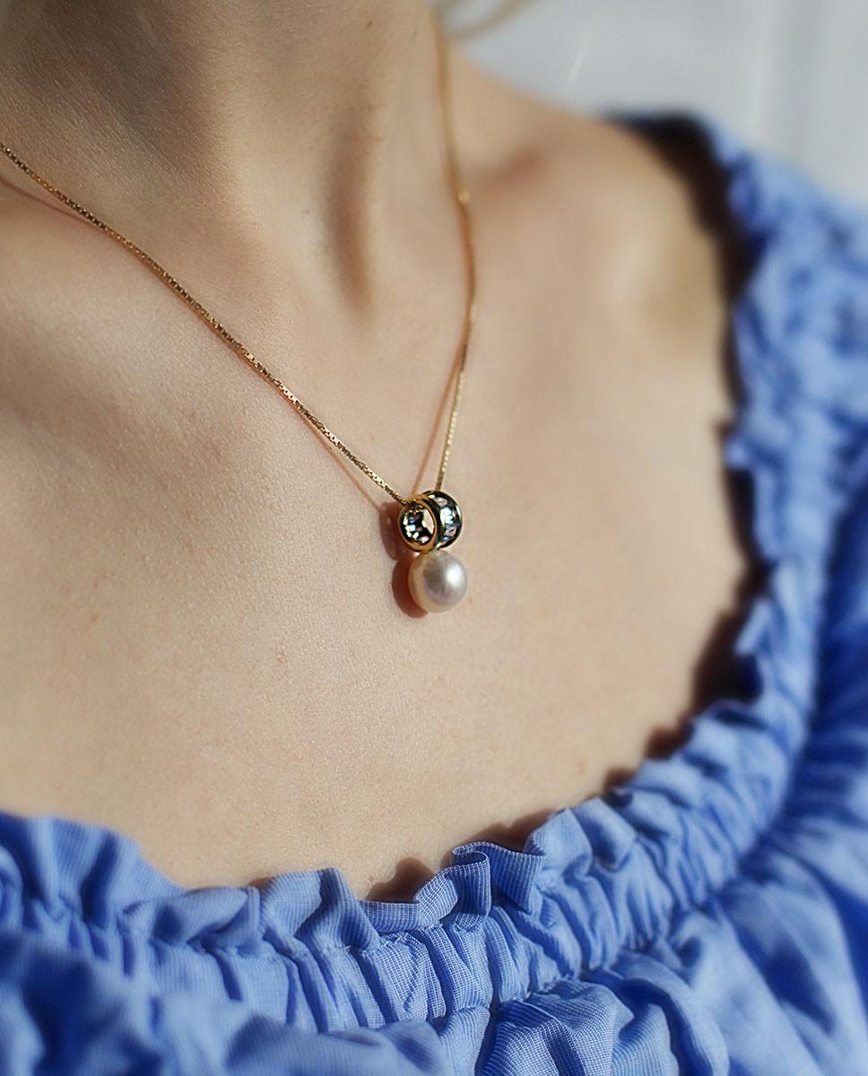 Perlen-Anhänger aus Gold und Süßwasserzuchtperle