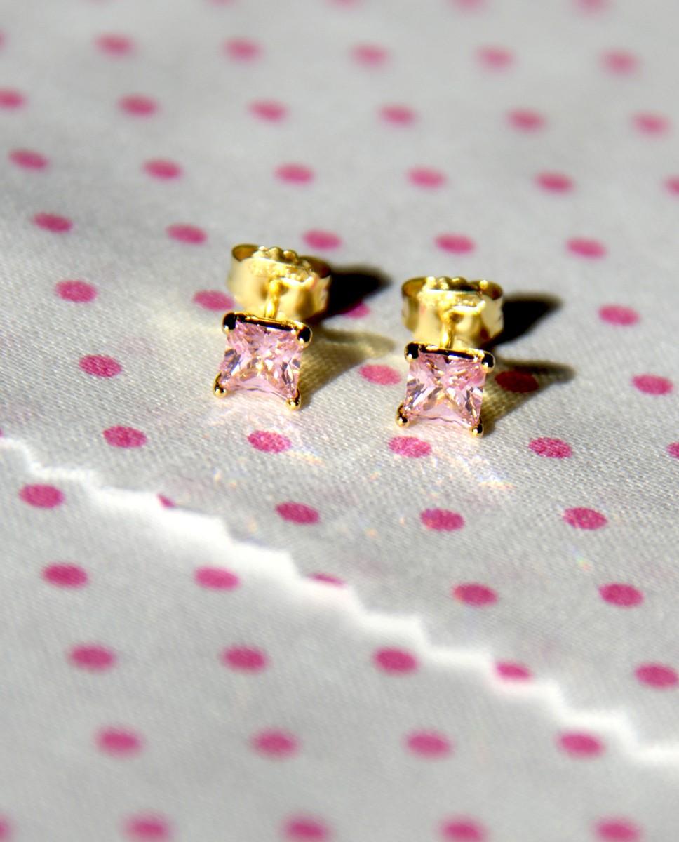 Goldene Ohrstecker rosa Maria groß von vorne oben
