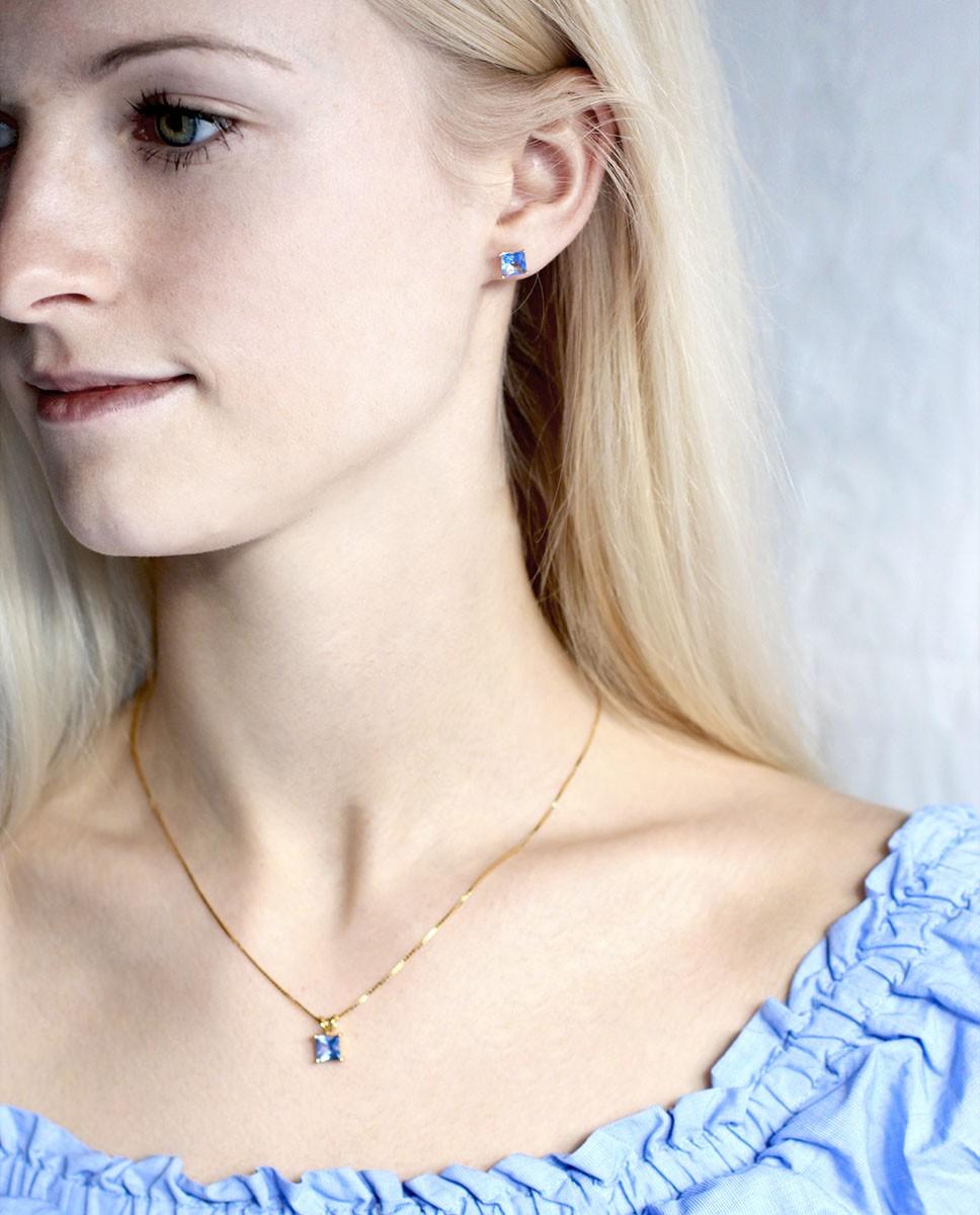 Goldenes Schmuck Set für Damen in blau  - Ohrstecker blau und Kettenanhänger blau