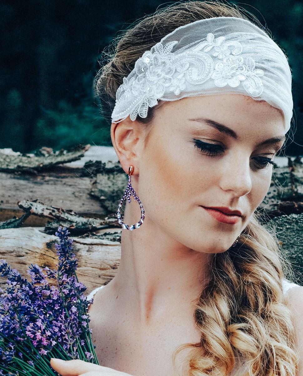 Große Rosegoldene Ohrringe lila Ayse