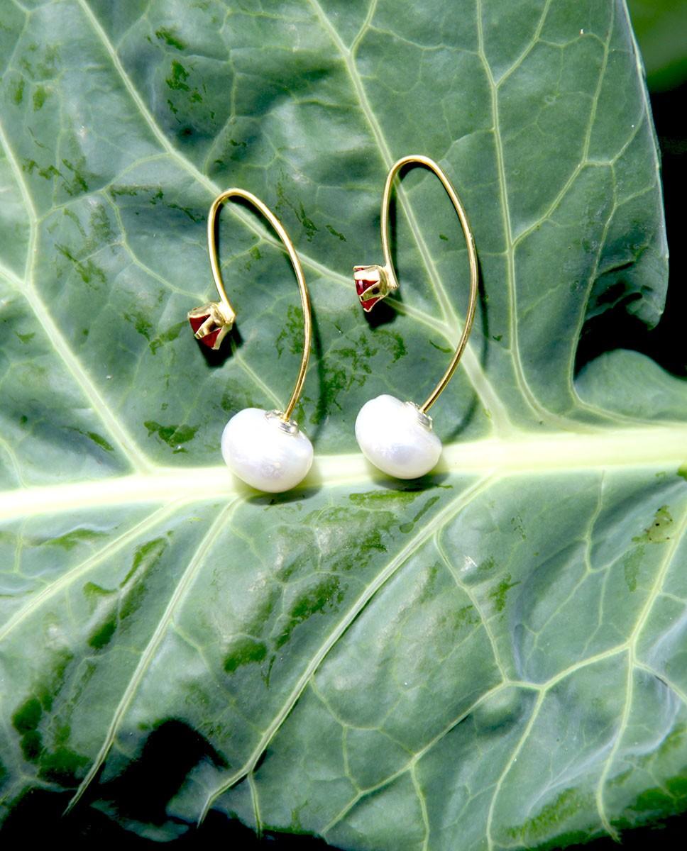 Ohrhänger Catalina gold pink Perle nebeneinander