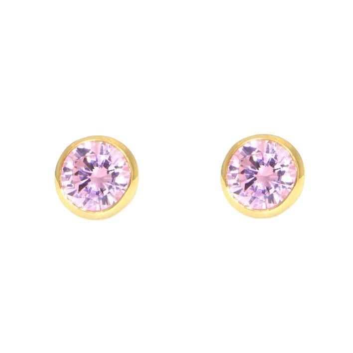 Ohrringe Anna groß gelbgold rosa frontal