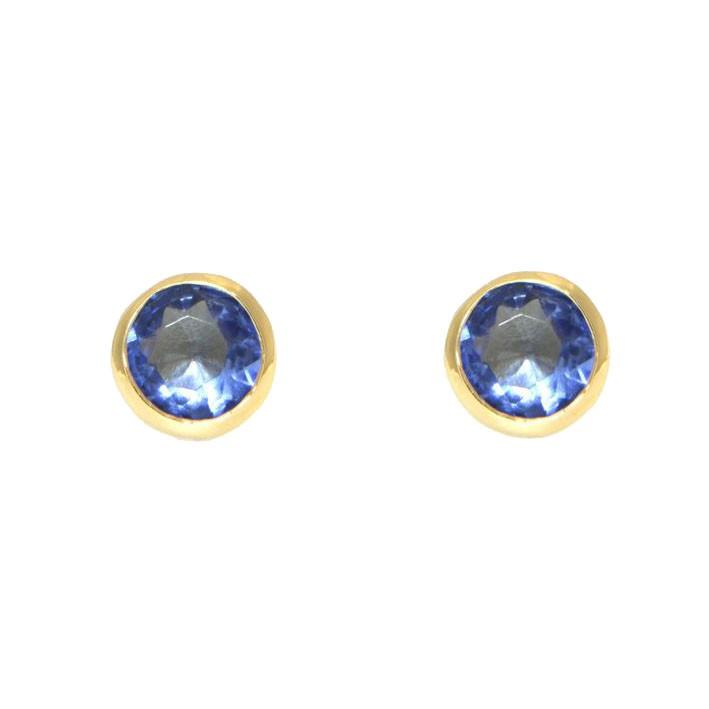 Ohrringe Anna groß gelbgold tansanite blau frontal