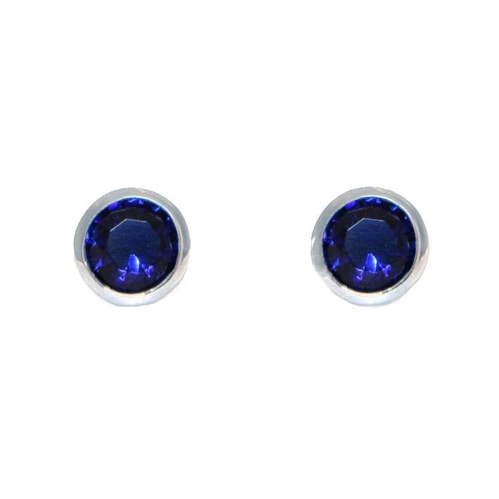 Ohrringe Anna groß silber saphir blau frontal