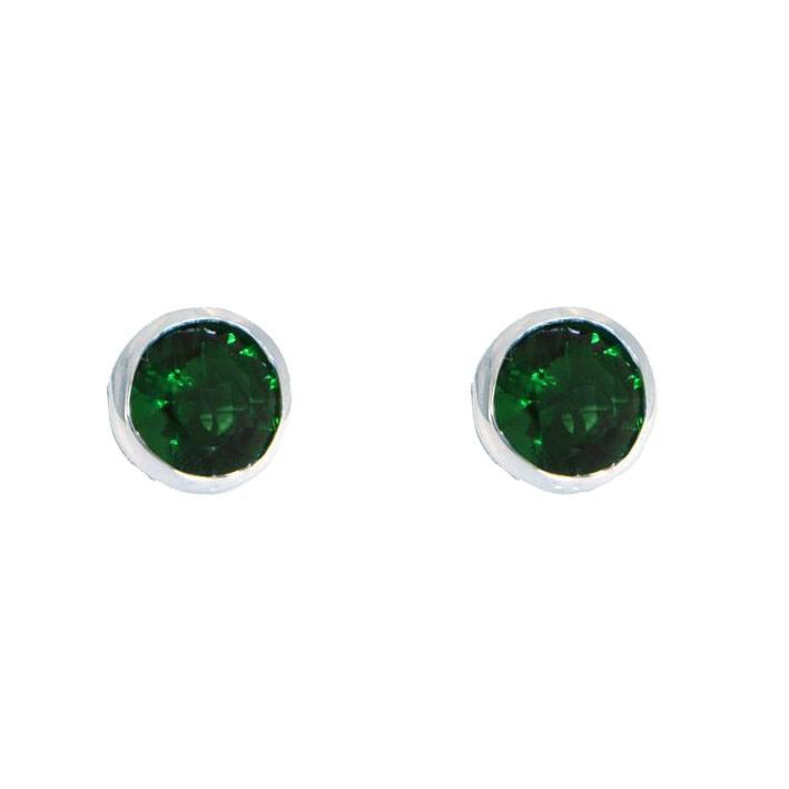 Ohrringe Anna groß silber smaragd grün frontal