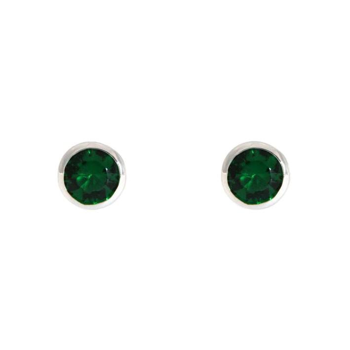 Ohrringe Anna klein silber smaragd grün frontal