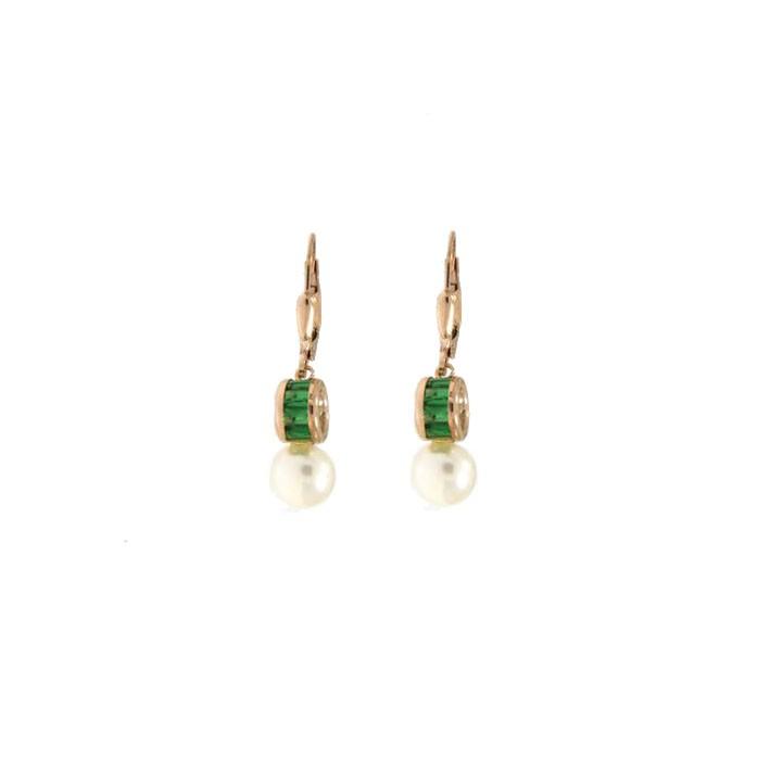 Ohrringe Letizia gelbgold smaragd grün Perle