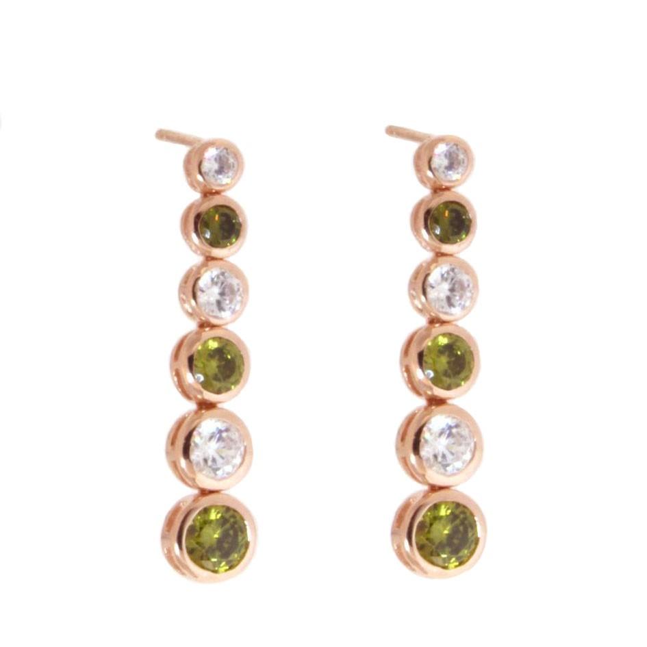 Ohrringe Sophia rosegold feenhaftes grün weiß frontal