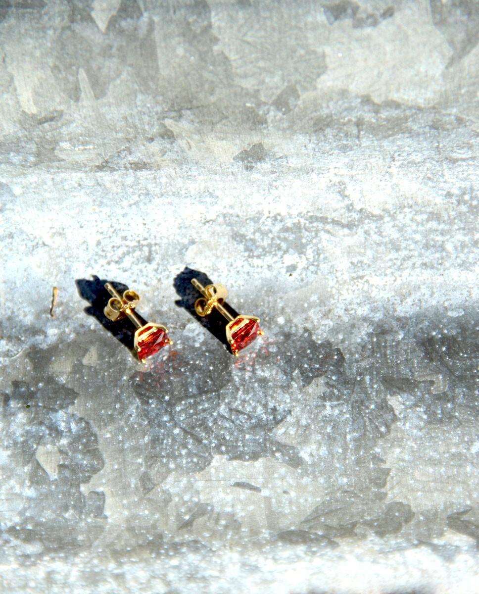 vergoldete Sterling Silber Ohrringe rot Maria groß liegend
