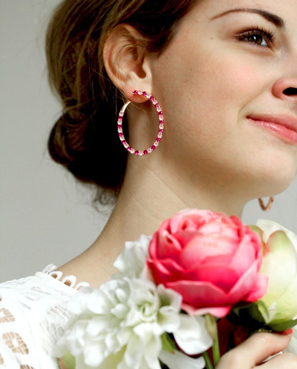 Rosevergoldete Sterling Silber Ohrringe pink rosa Olivia