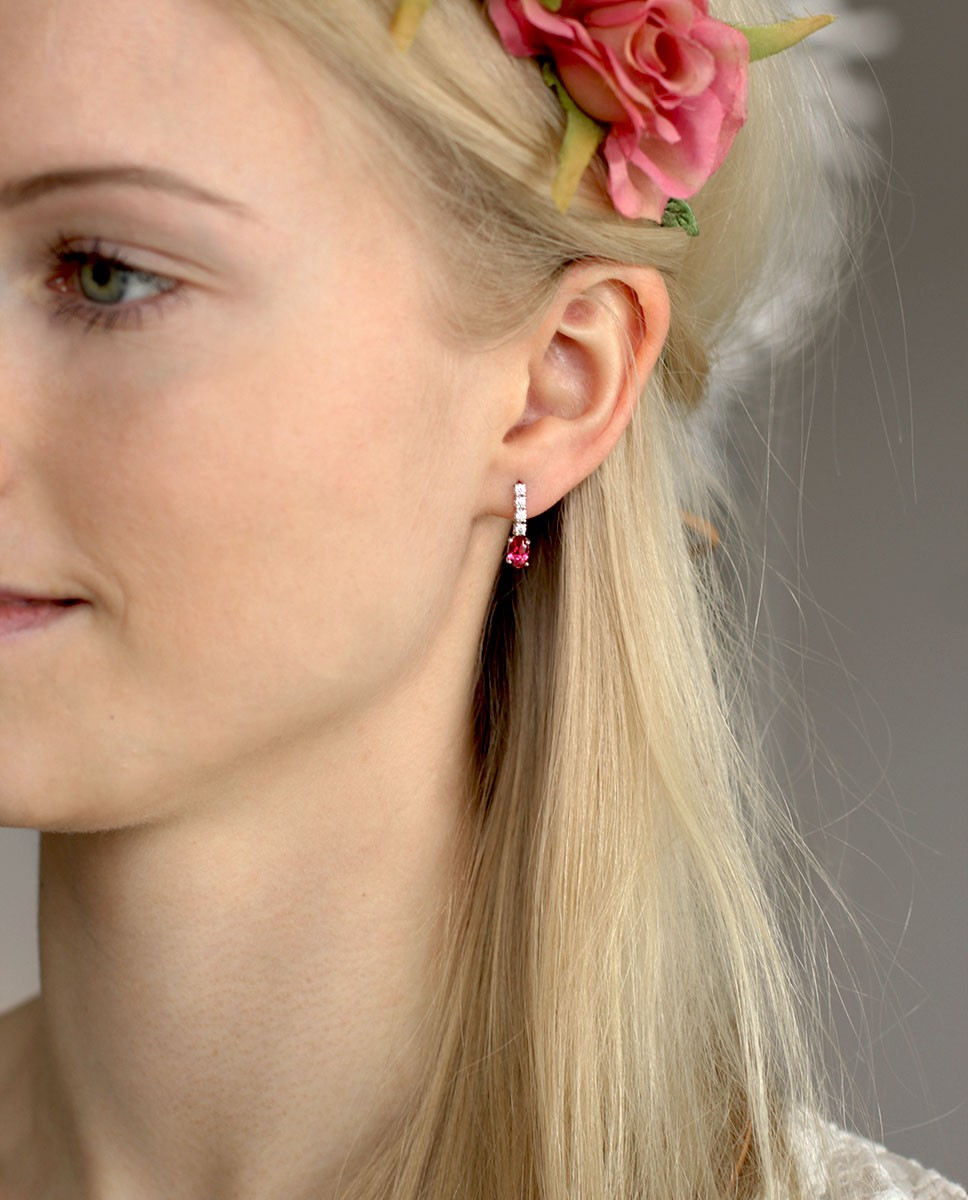 Sterling Silber Ohrring pink Jane am Model