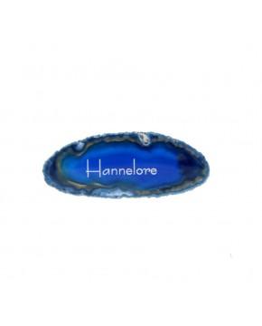 Blau gefärbte Achatplatte als Tischkärtchen
