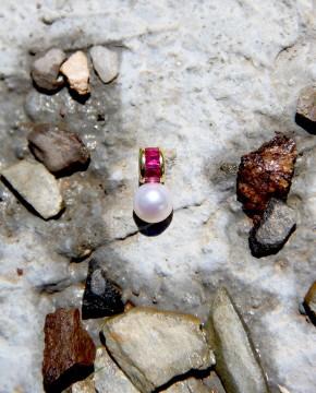 Perlen Anhänger Claire gelbgold rubin rosa frontal