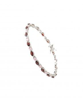 Sterling Silber Armband rot rosa Emma