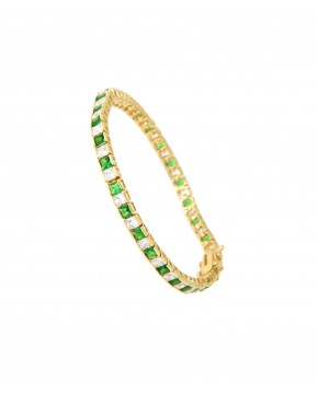 Armband Fanny gelbgold smaragd grün weiß