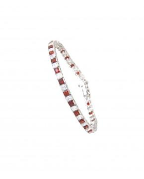 Armband Fanny silber granat rot weiß