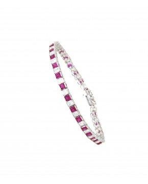 Armband Fanny silber rubinrot weiß