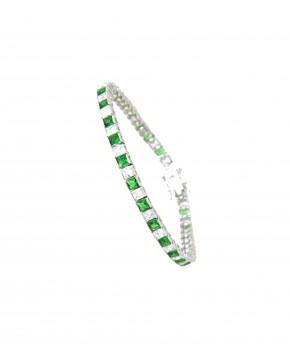 Sterling Silber Armband Fanny rhodiniert grün