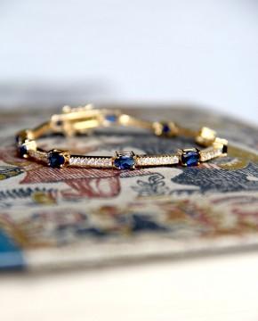 Armband Jane gelbgold saphir blau weiß rund