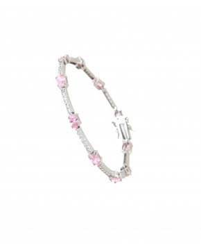 Sterling Silber Armband rosa weiß Jane