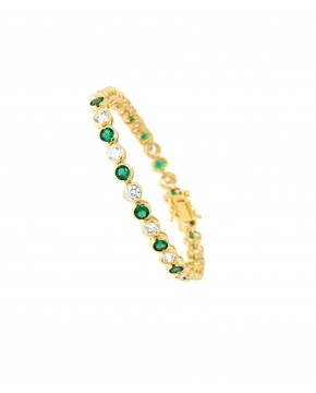 Armband Madeleine gelbgold smaragd grün weiß