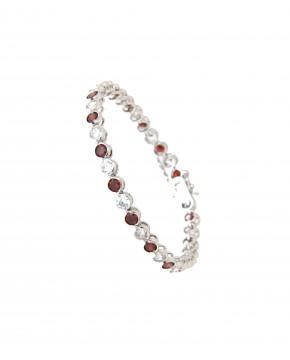 Armband Madeleine silber granat rot weiß