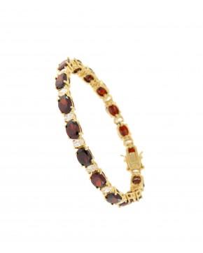 Armband Sissi gelbgold granat rot weiß