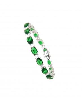 Armband Sissi silber smaragd grün weiß