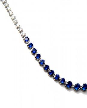 Sterling Silber Collier Charlène blau