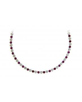 Collier Charlotte silber rubin rot weiß frontal