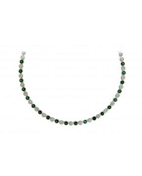 Sterling Silber Collier Charlotte rhodiniert grün