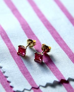 Goldene Ohrstecker pink Maria groß