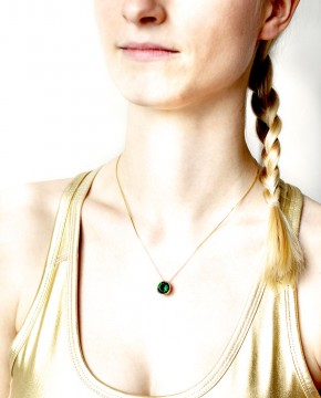 Goldener Kettenanhänger grün Margareta