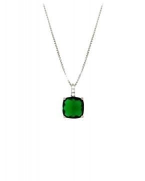 Kette mit Anhänger Alexandra silber smaragd grün frontal