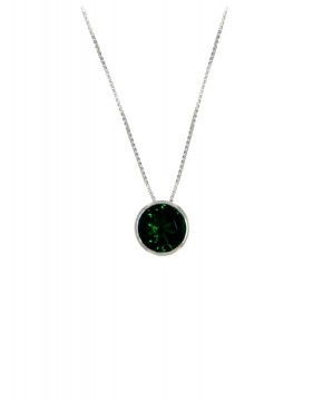 Kette mit Anhänger Margareta silber smaragd grün frontal