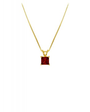 Kette mit Anhänger Maria gelbgold granat rot frontal