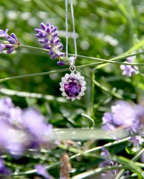 Sterling Silber Kette mit Anhänger Sissi lila