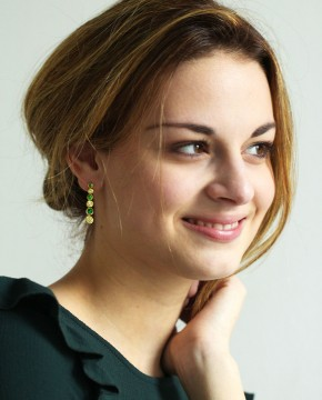 Goldener Ohrring grün gelb Sophia
