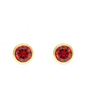 Ohrringe Anna groß gelbgold granat rot frontal