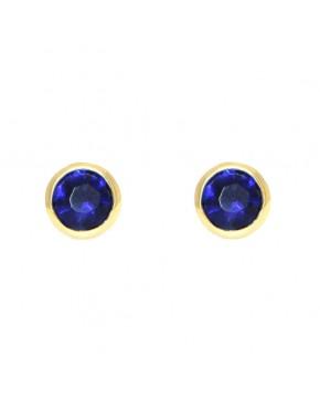 Ohrringe Anna groß gelbgold saphir blau frontal