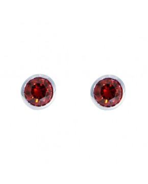 Ohrringe Anna groß silber granat rot frontal