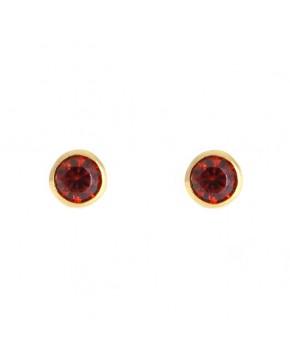 Ohrringe Anna klein gelbgold granat rot frontal